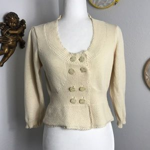 Anthro Knitted & Knotted crop cream knit cardigan
